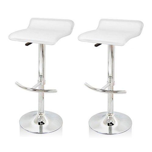 2x PVC Leather Bar stool Kitchen Chair WHITE 706