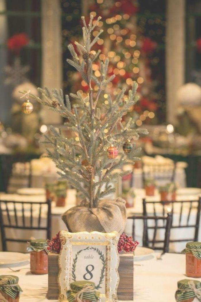 A Gorgeous December Wedding Full Of Christmas Wedding Ideas Glittery Bride Winter Wedding Table Tree Wedding Centerpieces Christmas Wedding Themes