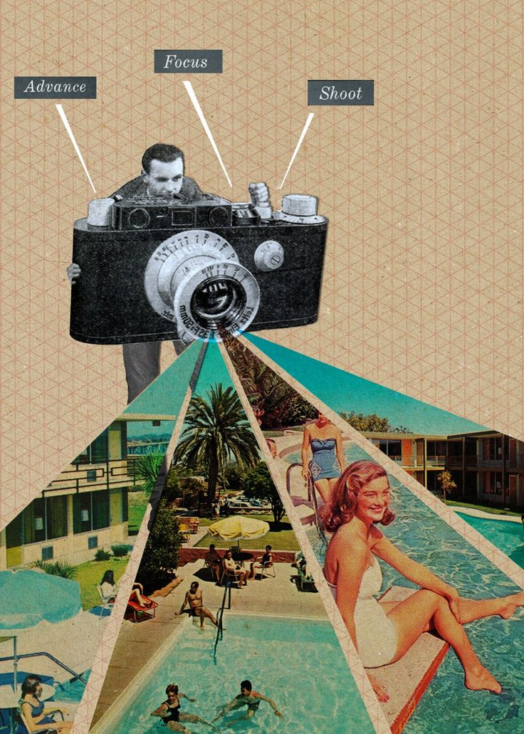 "Sammy Slabbinck, ""1950's Advance, Focus & Shoot"", collage on paper, 2012…"