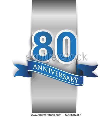 80th anniversary logo with silver label and blue ribbon, Vector design template elements for your birthday party.