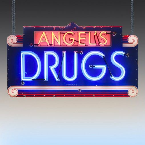 Angel's drugs vintage neon sign - a classic piece of 1950's Americana.