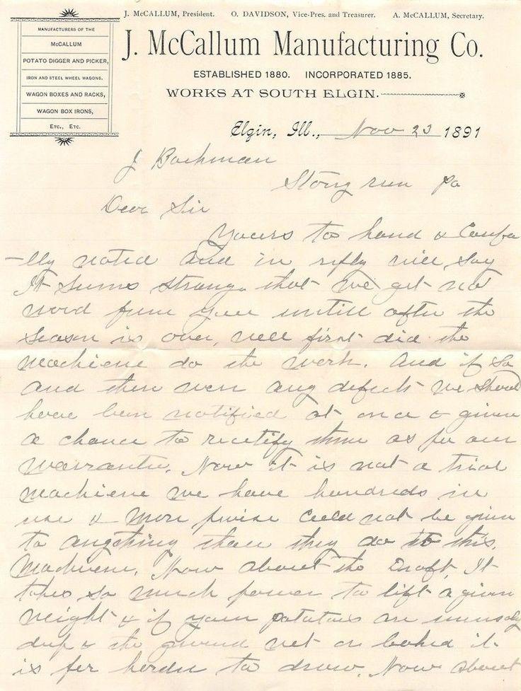 MCCALLUM AGRICULTURE TOOLS ELGIN ILLINOIS ANTIQUE FARM ADVERTISING LETTER 1891
