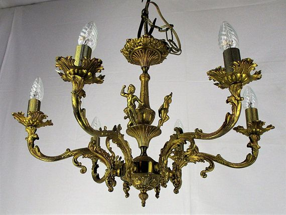 Beautiful solid and ornate Antique 5 arm Brass Chandelier