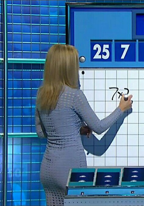 Rachel Riley ; 'Countdown' or 'Cats Does Countdown'. Clingy 'dust of Cambridge blue' ~ though she went to Oxford