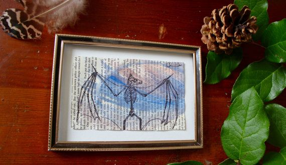 Blue Bat Skeleton handdrawn pen and ink by AnAwesomeLife on Etsy