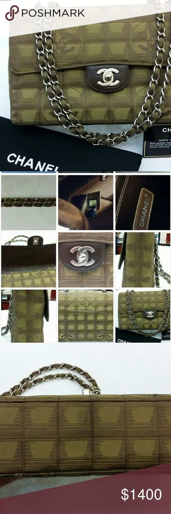 Chanel Shoulder Bag Chanel canvas olive green medium shoulder bag. Comes with authenticity card and dust bag. No trade Chanel   Bags Shoulder Bags