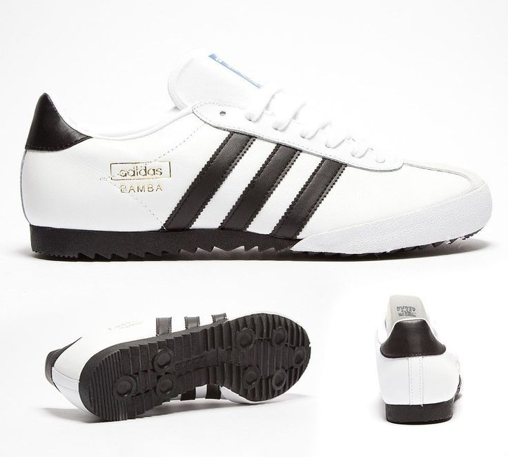 Mens Adidas Bamba White/Black Trainers