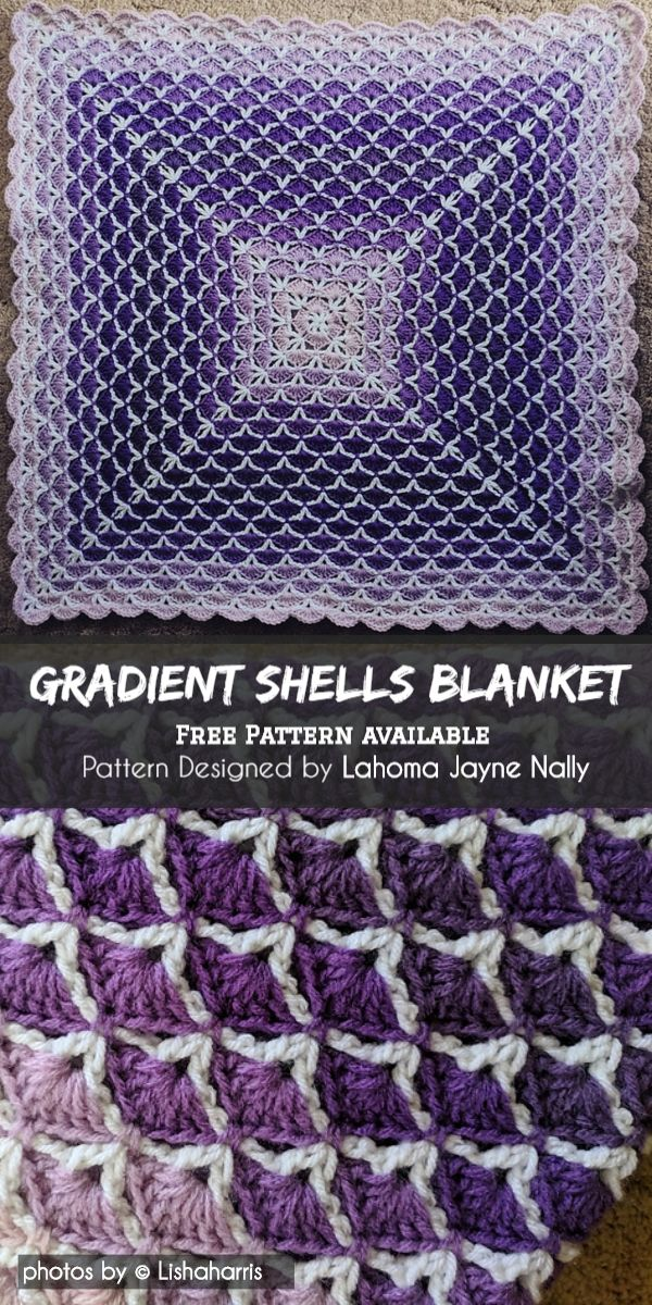 Beautiful Gradient Shells Blanket with Shell Stitch Tutorial
