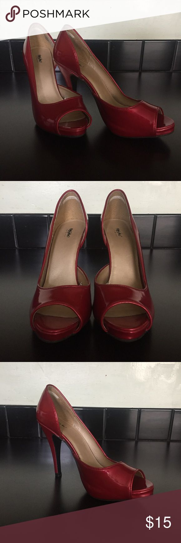 """Super cute red heels! Size 9.5 red peep toe heels! Super cute. Would be great for the upcoming holiday season. Approx. 4"""" heel. Comfortable, too!! Like new. Only worn twice. Mossimo Supply Co Shoes Heels"""