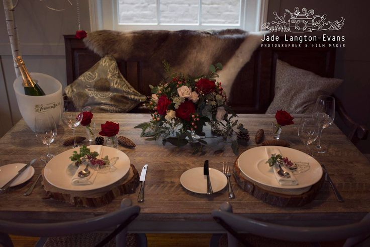 Florissimo, Shropshire - Flowers for weddings, events and businesses | Bohemian-chic table centrepiece of red roses, blush pink lisianthus, white astrantia, red hypericum berries, brunia berries, japonica blossom, eucalyptus and seeded eucalyptus. Styled winter wedding photoshoot, The Townhouse, Oswestry