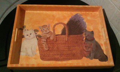 Vassoio decoupage con gatti