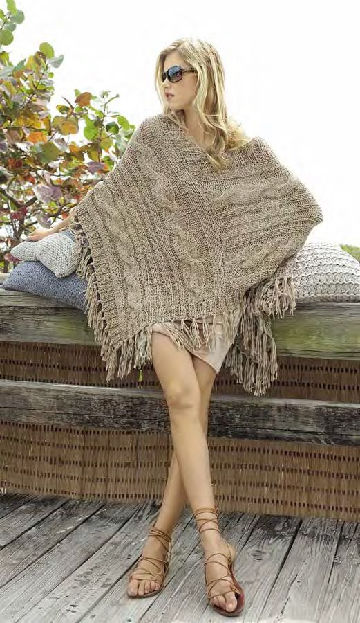 Love inspiration pic - poncho, crochet or knit one long strip, join as in picture.....soo making this!