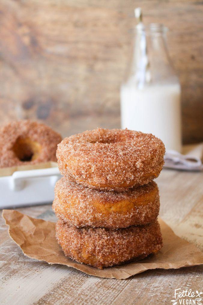 #vegan baked pumpkin cinnamon sugar donuts