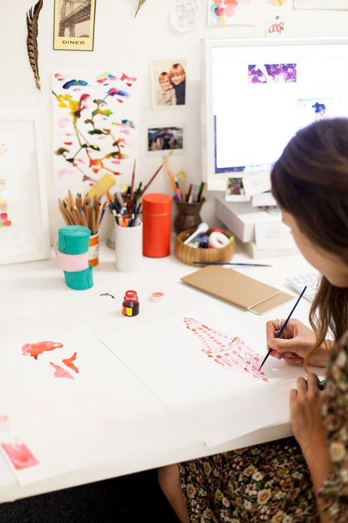 Penguin book designer Arielle Gamble works on illustrations for a new title.  Photo - Phu Tang. (via brittanickel)