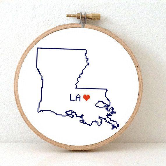 LOUISIANA Map Cross Stitch Pattern. Louisiana art by koekoek, €3.95