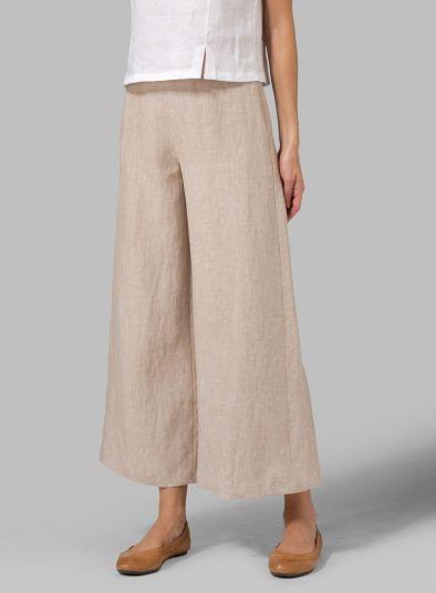 PLUS Clothing - Linen Wide-Leg Short Pants