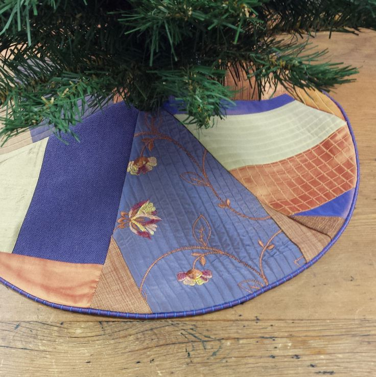 """23"""" Mini Christmas Tree Skirt, Contemporary Crazy Patchwork in Copper, Lavender & Chartreuse by FeeneyLane on Etsy"""