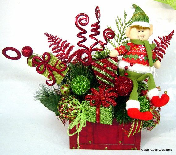 Elf Treasure Chest Centerpiece Floral Arrangement Christmas Holiday Whimsical red lime ADORABLE matching Wreath and garlands available in store by Cabin Cove Creations