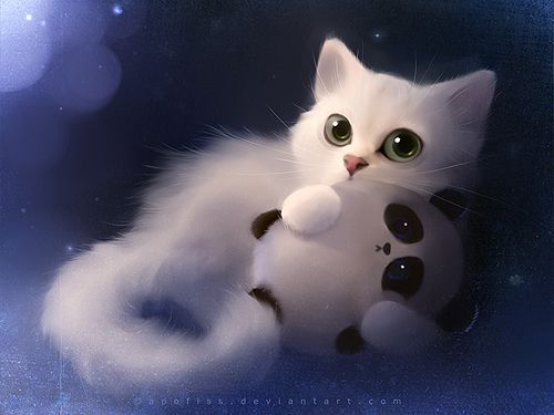 This is the most adorable cat-panda picture ever, by Apofiss on deviantart. I will probably get the print version someday.