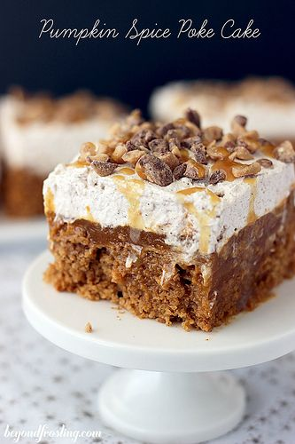 Double Pumpkin Poke Cake | A spiced pumpkin cake filled with chocolate pudding and topped with a cinnamon maple whipped cream. beyondfrosting.com