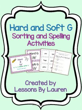 Have your students practice spelling words with the hard and soft g. These are great review and/or center activities! They can also be used as an assessment. Included in the hard and soft g sort: -18 cards (9 hard g words, 9 soft g words) - hard and soft g heading cards - Directions Included in the spelling activity: -10 words for your students to spell - they will check off the hard or soft g box and then spell the word you or a partner say.