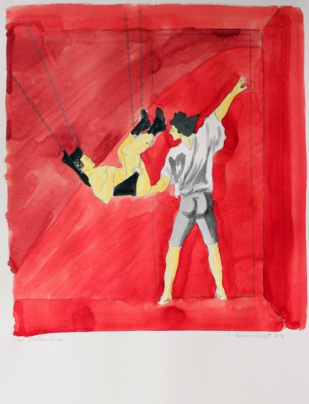 Le déverrouillage - encre et graphite sur Canson Montval - 50X65 - 2014 - Collection de l'artiste Fragonard - Le verrou - Art Gay ?