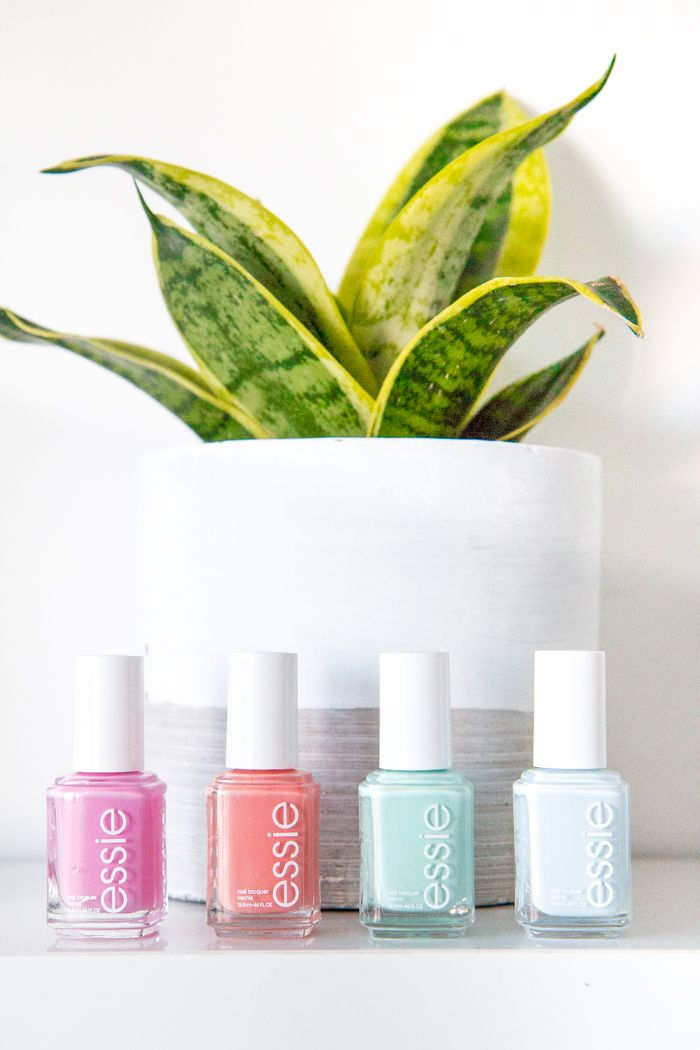 Beautiful Essie nail polishes for the summer: Cascade Cool, Tart Deco, Mint Candy Apple, and Find Me an Oasis