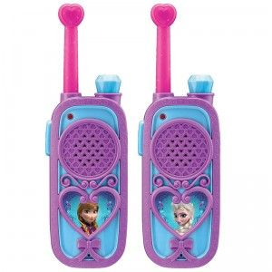 A set of two long-range walkie talkies, one with an image of Anna and the other with an image of Elsa.