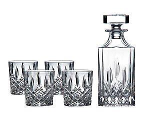 4 Verres à whisky et un décanteur, cristal - transparent