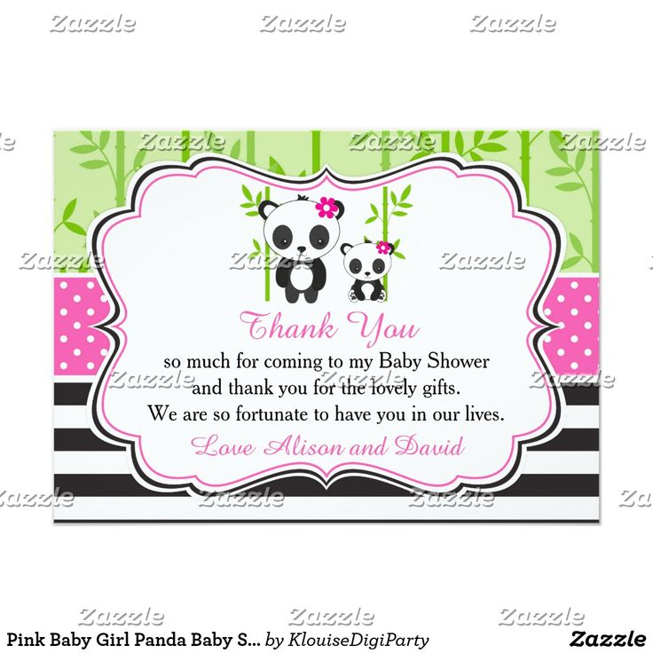 Pink Baby Girl Panda Baby Shower Thank You Card
