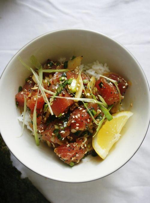 TUNA POKE (serves 2-3): 1 Sashimi-grade Ahi tuna steak + 1/2 of a small onion, sliced + 2 green onion, chopped + 1 1/2 tablespoon soy sauce + 1 teaspoon sesame oil + 1 teaspoon chili pepper flakes + 1 tablespoon sesame seeds.
