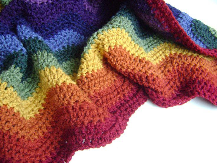Crochet Patterns For Advanced Beginners : Crochet Pattern for Rainbow Ripple Baby Blanket - Easy ...