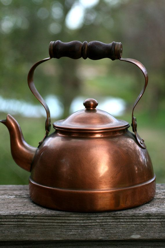 Vintage copper tea kettle Rustic Primitive Tea Kettle by AbateArts