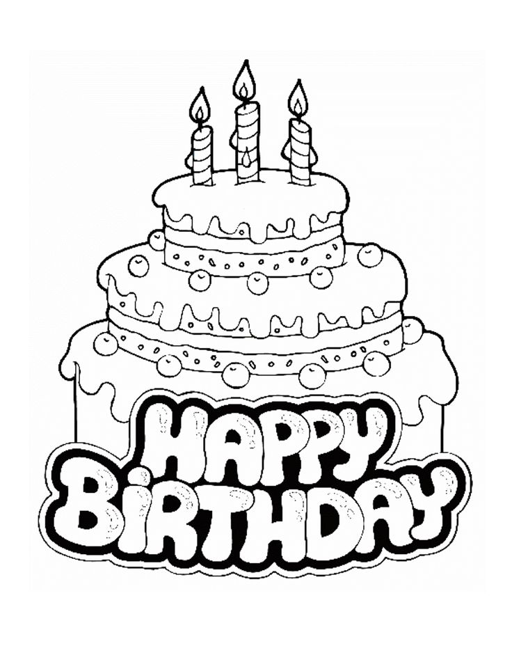 Birthday Cake Coloring Pages - Free Large Images | Crafts | Birthday ...