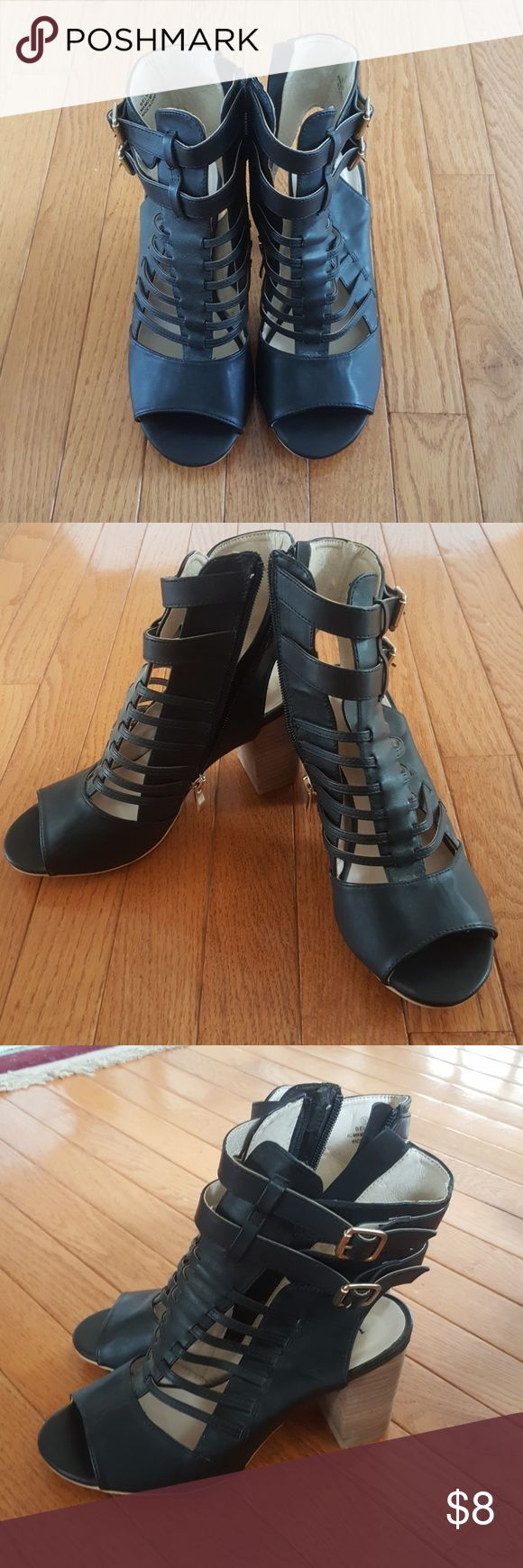 Bucco black leather gladiator sandals/heels Never worn black leather gladiator sandals/heels. Brand new with tag! 3.25 inch heels! Cute with dresses, skirts, skinny jeans... Shoes Sandals