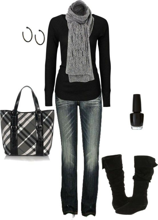 Casual everyday for winter. Suede boots make a nice touch! ( I think I love the winter looks because I am from up North..but don't get too much wear here, still on cold nights I LOVE to wrap up in something just like this..(have this outfit too)