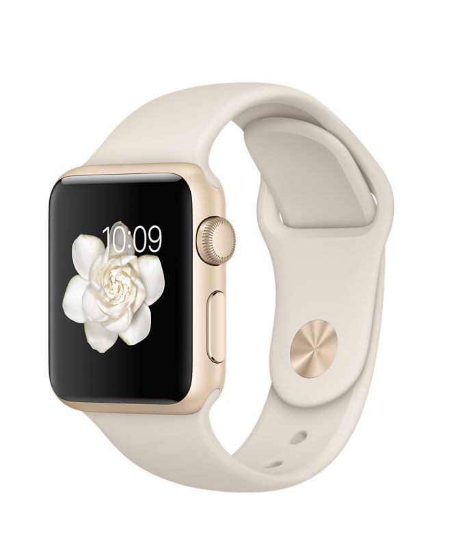 Apple Watch Sport, gold aluminum with stone band