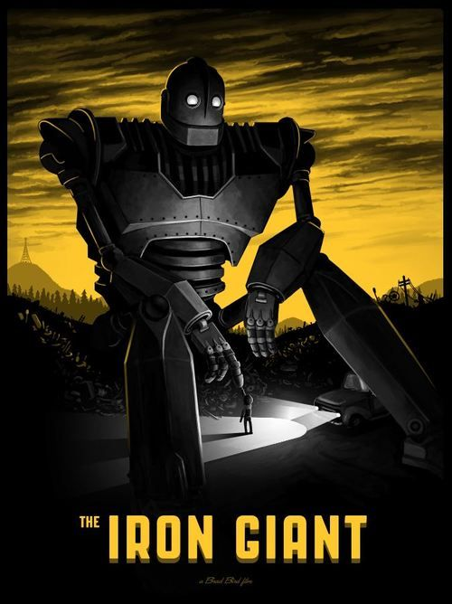 Iron Giant poster by Mondo  I NEVER HAVE SEEN THIS MOVIE IN ITS ENTIRETY--- SAD. 05 /31 2014 SATURDAY I BOUGHT AND WATCHED THIS MOVIE---茨城県の結城市の伊坂(慎吾)君 このDVDを買ったちゃった!!!