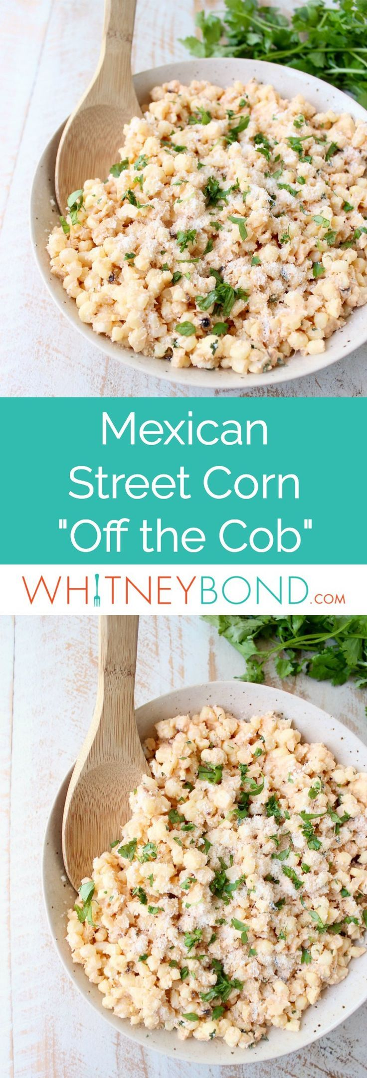 """Deconstructed Mexican Street Corn combines grilled corn """"off the cob"""", cilantro, sour cream, lime juice & parmesan cheese for an amazingly flavorful side dish recipe!"""