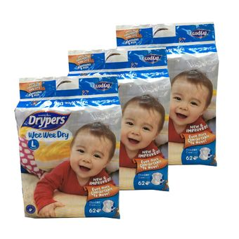 Buy Free 18pcs + Drypers WeeWee Dry -SG Packaging L62 (3 packs) online at Lazada Singapore. Discount prices and promotional sale on all Taped. Free Shipping.