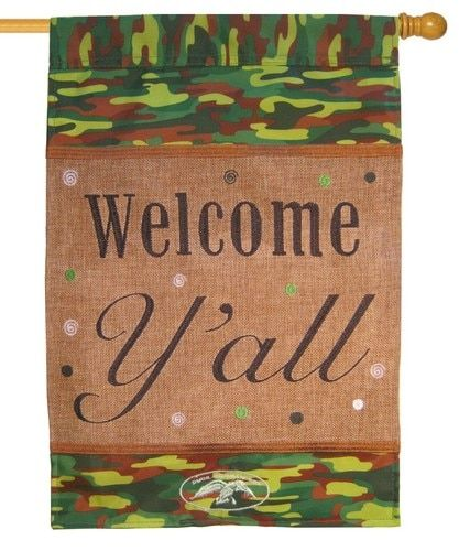 Welcome Y'all Burlap and Camo Duck Commander House Flag