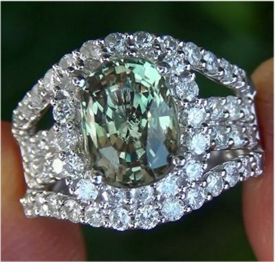 Natural Alexandrite and Diamond ring- the other June birthstone- more rare than diamonds.