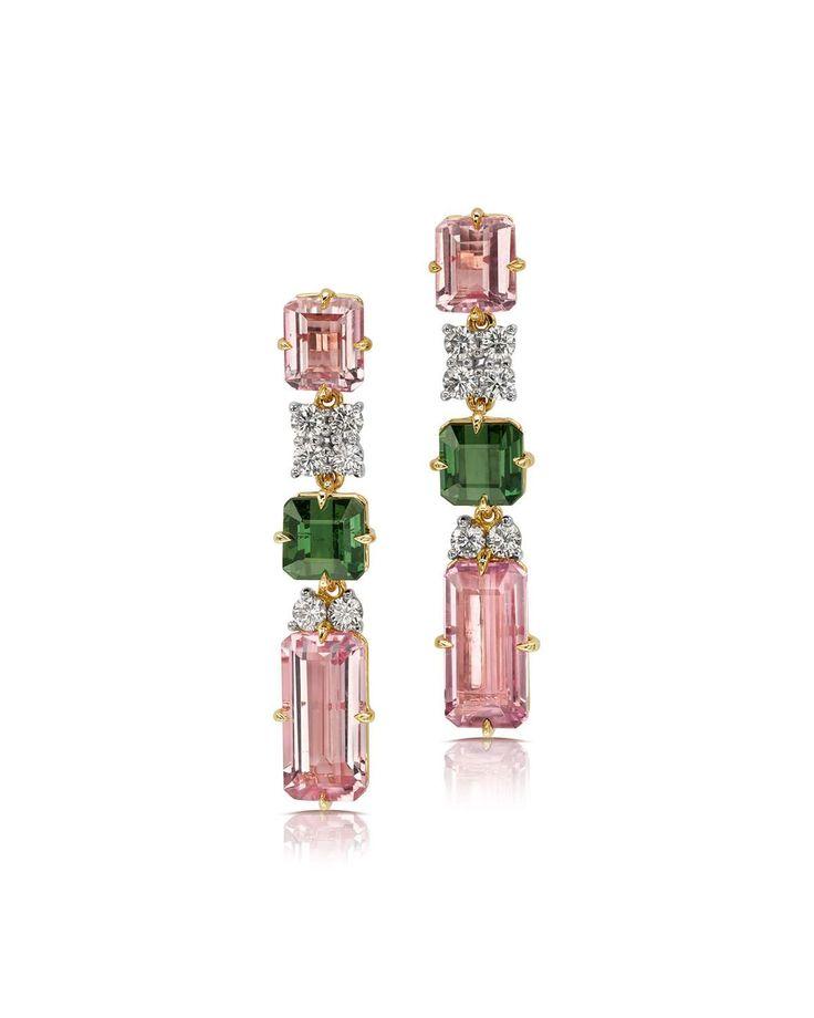 Pin By Pamela Lopez On Drops In 2019: 18k Tourmaline & Diamond Linear Drop Earrings, 2019
