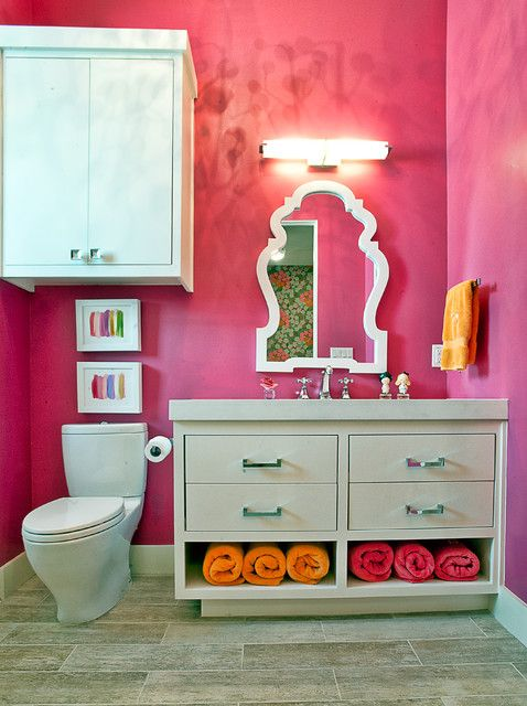 Sophisticated Bathroom Vanity Ideas for Lovely Ambiance: Charming Pink Themed Bathroom For Teen Girl Involving Simple Grey Bathroom Vanity I...