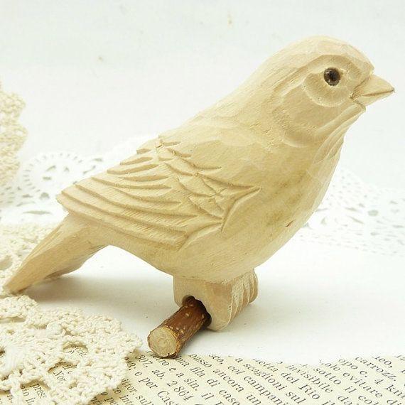 hand carved wooden bird 3 1/2 x 3 1/2 x 2 by bisbe…