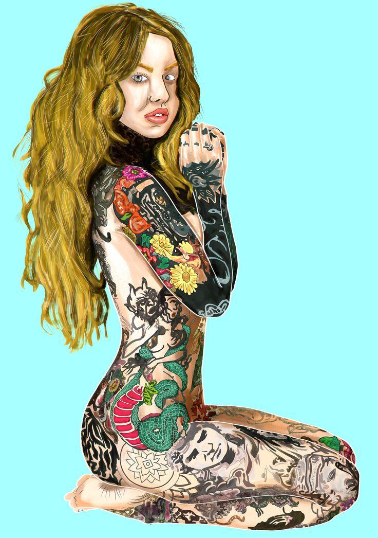 https://flic.kr/p/GRK6mt   Full Tattoo Woman   ✪ Practice drawing trace ∼ Medibang Paint