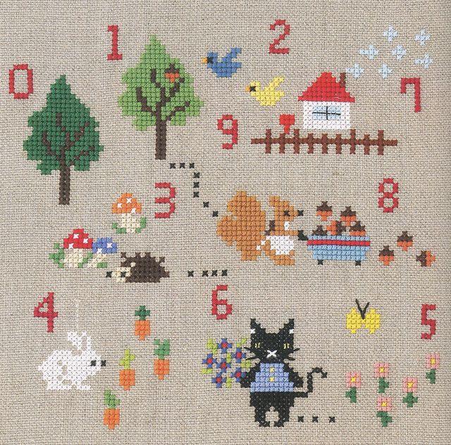 Bordado punto cruz con animales y números, es posible recrear pequeñas partes en alguno de nuestros trabajos.