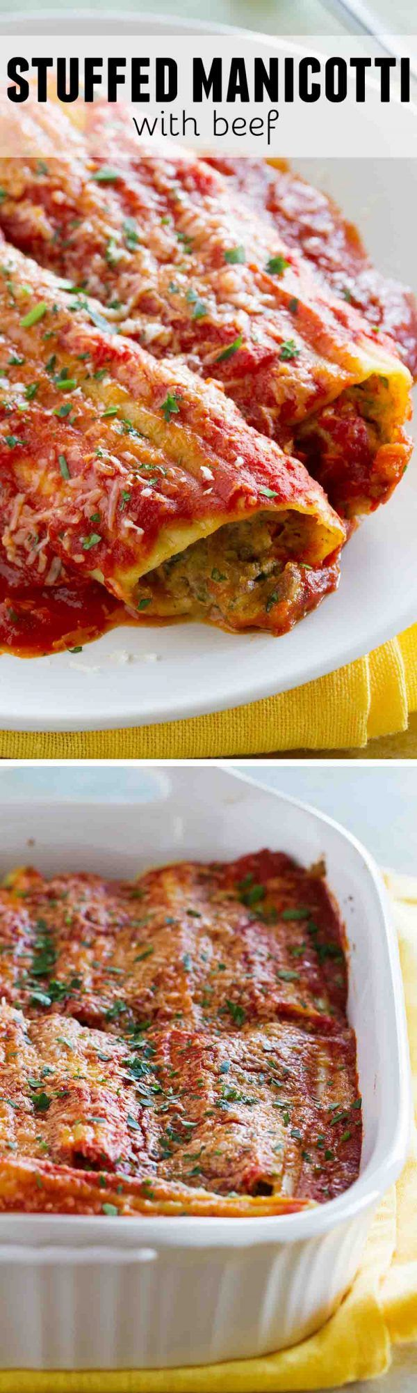 Now this is Sunday dinner! This Stuffed Manicotti with Beef has a slow cooked beef mixture that is combined with ham and cheese and stuffed in manicotti pasta. And if you make the sauce ahead of time, you can make this an easy weeknight dinner!