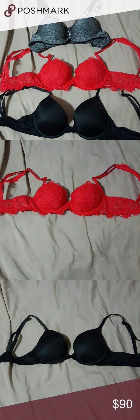 Pink victorias secret bras Red and black ones when once, sports bra lightly loved. $10 off when bought all together, or $30 a piece. No trades please. PINK Victoria's Secret Intimates & Sleepwear Bras
