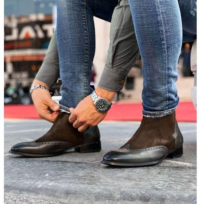dark brown chelsea boots   Mens casual